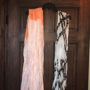 Two light Charming Charlie's infinity scarves